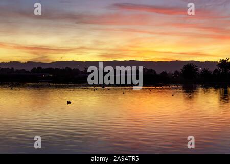 Herbst Sonnenuntergang von ententeich wider - Stockfoto