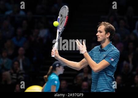 London, Großbritannien. 13 Nov, 2019. Daniil Medwedew während Nadal x Medwedew Spiel bei ATP-Finale im Arena 02 in London, England. Credit: Richard Callis/FotoArena/Alamy leben Nachrichten - Stockfoto
