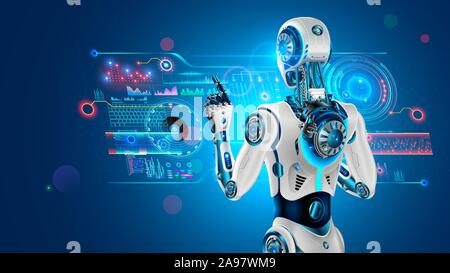 Roboter mit AI steht mit dem Rücken zum Betrachter und arbeitet mit industriellen Virtuelle 3D-Schnittstelle. Cyborg Rückansicht tippt mit dem Finger auf die Schaltfläche holographische Touch - Stockfoto
