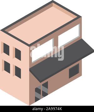 Markt Gebäude Architektur isometrische Stil Vector Illustration