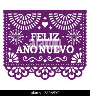 Feliz Ano Nuevo - Frohes neues Jahr in Spanisch Papel Picado vektor design mit, mexikanische Papier schneiden Sie purple Grußkarte auf Weiß - Stockfoto