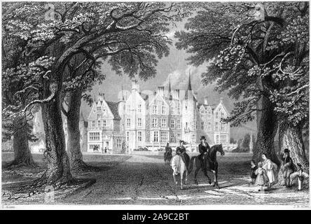 Eine Gravur der Tyninghame Haus Haddington der Sitz der Grafen von Haddington bei hoher Auflösung aus einem Buch 1859 gedruckten gescannt. - Stockfoto