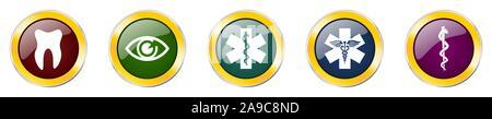 Set aus bunten Web glänzend Vector Icons, Medizin, Gesundheit, Auge und Zahn Schaltflächen in eps 10 für Webdesign und mobile Anwendungen auf weißem Hintergrund - Stockfoto