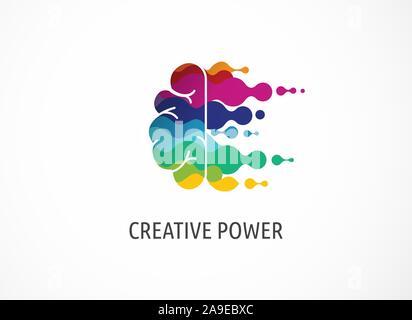 Gehirn, kreativer Geist, Lernen und Design Icons, Logos. Man Kopf, Menschen Symbole - Stockfoto