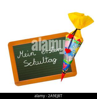 Schultüte und Schiefer - Stockfoto