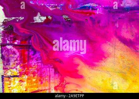 Bunte von nassen Druckfarbe auf Druckplatte - Stockfoto