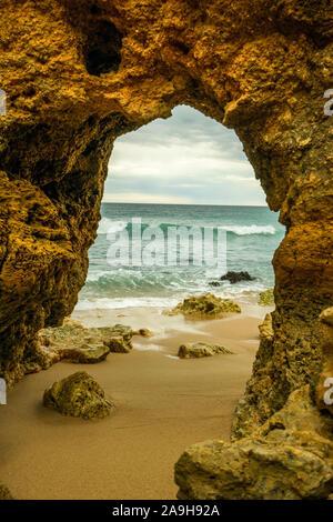 Portugal, Algarve, Albufeira, Praia de Sao Rafael, - Stockfoto