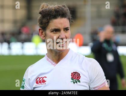 England Kapitän Sarah Hunter bei voller Zeit beim Länderspiel der Frauen am sandigen Park, Exeter. - Stockfoto