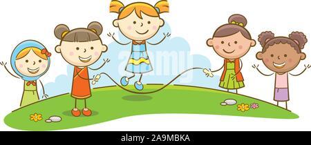 Doodle kid Abbildung: Kinder spielen springen Seil - Stockfoto