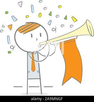 Doodle Abbildung: Geschäftsmann weht eine Trompete, um Aufmerksamkeit zu erhalten - Stockfoto