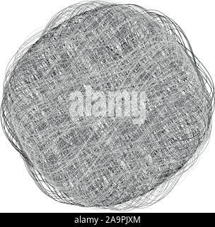 Ball von Garn. Vektor abstrakten Kreis grau Logo. Handgefertigt.