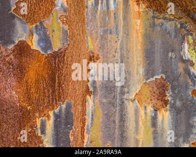 Ein Hintergrund, bestehend aus einer rostigen Stahlplatte - Stockfoto