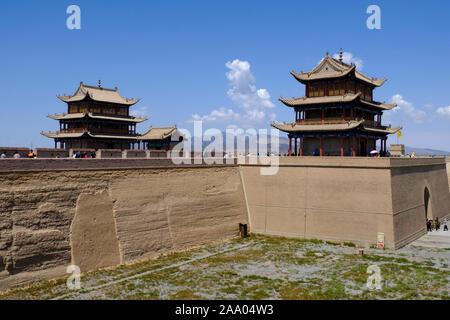 Chinesische Touristen in Jiayuguan Fort - Stockfoto