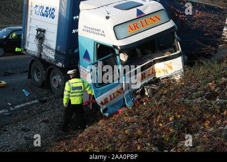 Verkehrspolizei, Autobahn Incident - Stockfoto