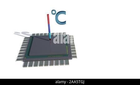 Die Temperatur des Prozessors, 3D-Rendering - Stockfoto