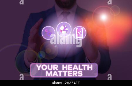 Wort schreiben Text Ihre Gesundheit. Business foto Präsentation körperliche Wellness ist wichtig Bleiben Sie Fit und Gesund - Stockfoto