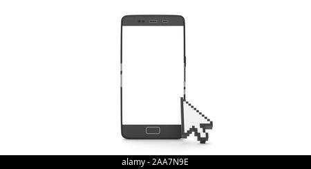 Computer Mauszeiger auf ein Mobiltelefon, vor weißem Hintergrund. Pixel Pfeilspitze Form Mauszeiger. 3D-Darstellung - Stockfoto
