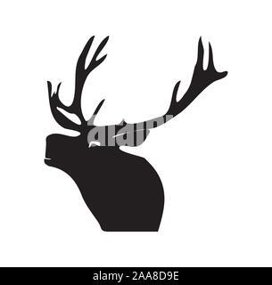 Schwarze Silhouette eines Hirsches. Abbildung auf isolierte Hintergrund. - Stockfoto