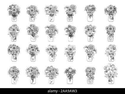 Hand schwarz und weiß Sammlung von Doodle style Blumensträuße gezeichnet. Monochrome Rosen, Pfingstrosen, saftig, Orchidee, Dahlie, florales Design clip art - Stockfoto