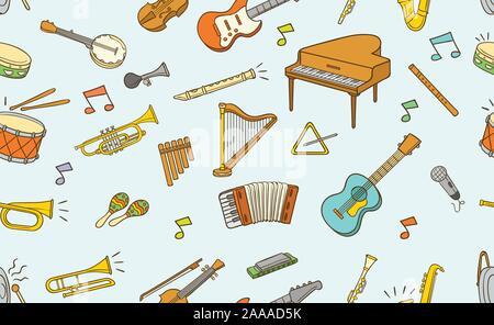 Nahtlose Muster von Musikinstrument Element in Farbe über hellen Hintergrund isoliert - Stockfoto