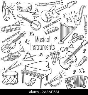 Satz von Musikinstrument beschrieben doodle Skizze in schwarzer Farbe auf weißem Hintergrund - Stockfoto