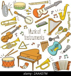 Satz von Hand gezeichnet doodle Musikinstrument in Farbe - Stockfoto