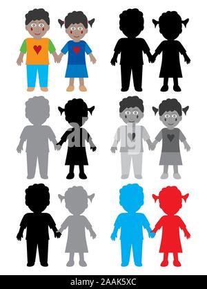 Farbe und Schwarz Weiß glückliche afroamerikanische Kinder. Ein wenig Afro-amerikanische Junge und Mädchen halten sich an den Händen und Lächeln. - Stockfoto