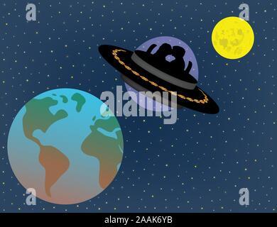 Liebe Paar fliegen in UFO Alien Raumschiff über und zwischen Erde und Mond in der Zukunft. Science Fiction, Leben in der Zukunft, futuristische Vorhersage. - Stockfoto