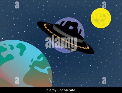 Liebe Paar in UFO Alien Raumschiff zwischen Mond und Erde in Zukunft Zeit fliegen. Science Fiction und das Leben in der Zukunft. Futuristische Vorhersage - Stockfoto