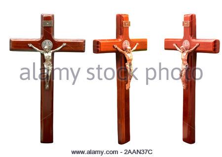 Jesus am Kreuz auf weißem Hintergrund - Stockfoto