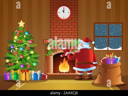 Santa Claus senden Geschenk im Kaminzimmer in der Weihnachtsnacht, Vector Illustration - Stockfoto