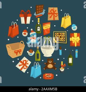 Geschenke und Geschenke für Valentinstag, Bär Spielzeug und Schokolade - Stockfoto