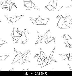 Origami formen Vektor nahtlose Muster, Hand gezeichnet Ordner Papier Japan art Tiere, Vögel, Boote, Schiffe, Flugzeuge Hintergrund - Stockfoto