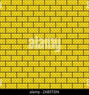 Ein Hintergrund, bestehend aus einer Wand aus Plastikbausteinen in gelber Farbe. - Stockfoto