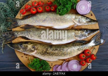 Große raw Pikes mit Gemüse und Kräutern auf einem Holz- fach frischen Fang. Diätetisches Produkt. Ansicht von oben. Bereit zu kochen. - Stockfoto