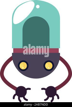 Roboter mit zwei Hände flach Symbol Stil Vector Illustration Design - Stockfoto