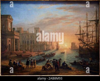 '''Eaport bei Sonnenuntergang'', 1639, Claude Gellée dit Claude Lorrain, Musée du Louvre, Paris, Frankreich, Europa - Stockfoto