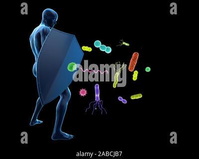 3D-gerenderte konzeptionelle Immunabwehr Abbildung - Stockfoto
