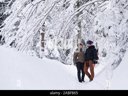 Inhalt Paar in einem verschneiten Wald, Wandern - Stockfoto