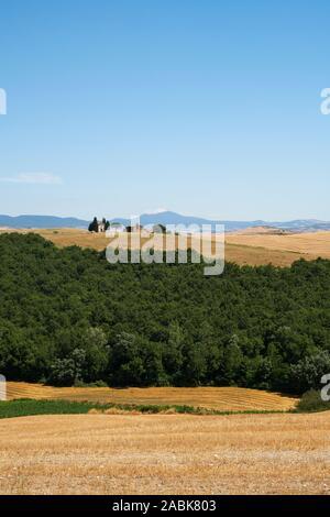 Einen entfernten Blick auf die Kapelle Madonna di Capella Vitaleta und die Sommer toskanische Landschaft Landschaft des Val d'Orcia, Pienza, Toskana, Italien Europa - Stockfoto