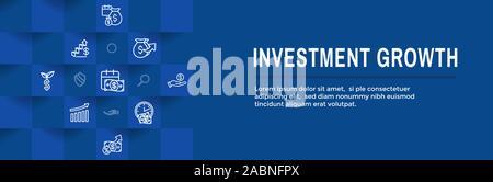 Banking, Investitionen und Wachstum Icon Set w Dollar Symbole, etc. - Stockfoto