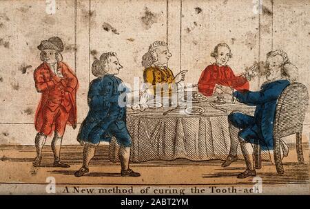 Ein Mann squirting ein Klistier in jemandem den Mund, um seine Zahnschmerzen zu heilen, an einen Tisch. Farbige ätzen..jpg - 2 ABT 2 YM - Stockfoto