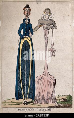 Ein Mann mit langen, dünnen Beine und eine Frau mit langen, dünnen Körper. Farbigen Radierung von C V. nach C C..jpg - 2 ABT 33 P - Stockfoto