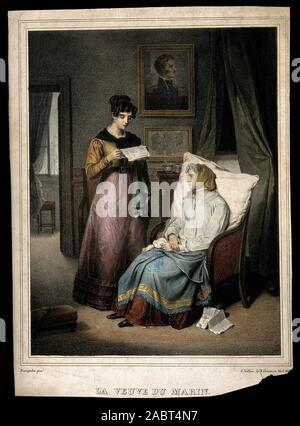 Witwe für Segler hört, während eine Frau ihr einen Brief liest. Farbige Lithographie von J. Vallou de Villeneuve, 183, nach J.A. Franquelin..jpg - 2 ABT 4N7 - Stockfoto