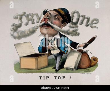 Ein Raucher mit riesiger Kopf atmet Zigarre, welche Formen die Worte eine farbige Lithographie, c. Versuchen 1879, nach der T...jpg - 2 ABT 58 N - Stockfoto