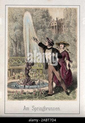 Ein junger Mann hält eine Schale zum Brunnen, um Wasser zu sammeln, um die junge Frau zu geben. Farbige Lithographie..jpg - 2 ABT 7 D 4 - Stockfoto