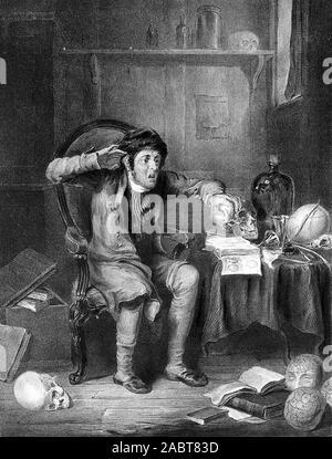 Ein besorgter Mann seinen Kopf im Vergleich zu einem Schädel, mit Hilfe der Technik der phroenology. Farbige Lithografie nach T. Lane, C. 1825.jpg - 2 ABT 83D - Stockfoto
