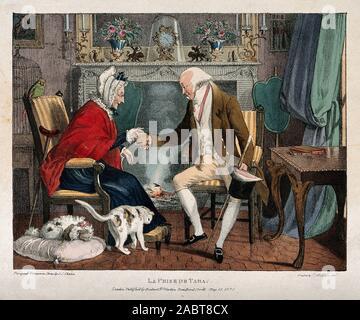 Ein älterer Herr Besucher mit Schnupftabak in eine alte Frau an ihrem Kamin. Farbige Lithographie von J.J.Chalon, C. 1821, nachdem er sich selbst ..jpg - 2 ABT8CX - Stockfoto