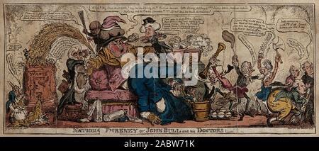 John Bull als Patient, in der Verwirrung, lässt sich auf einem Sofa und erhält die medizinische Behandlung von Politikern. Farbigen Radierung von G. Cruikshank, 1813..jpg - 2 ABW 71 K - Stockfoto