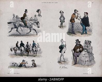 Männer sind auf Reiten auf Pferd zurück, ein Jockey sitzt auf dem Boden seine Hände winken und ein großes Paar gehen Arm in Arm. Farbige Lithographie von der Becquet Brüder nach V. Adam..jpg - 2 ABWDFP - Stockfoto